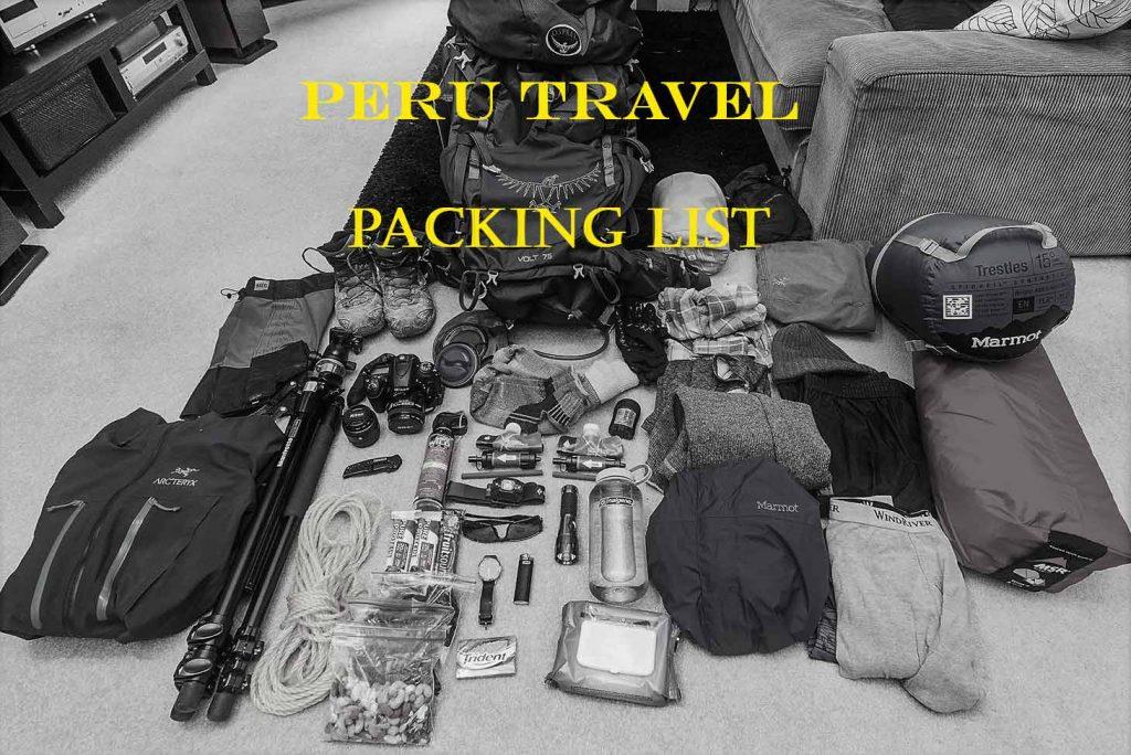 Inca Trail Packing list