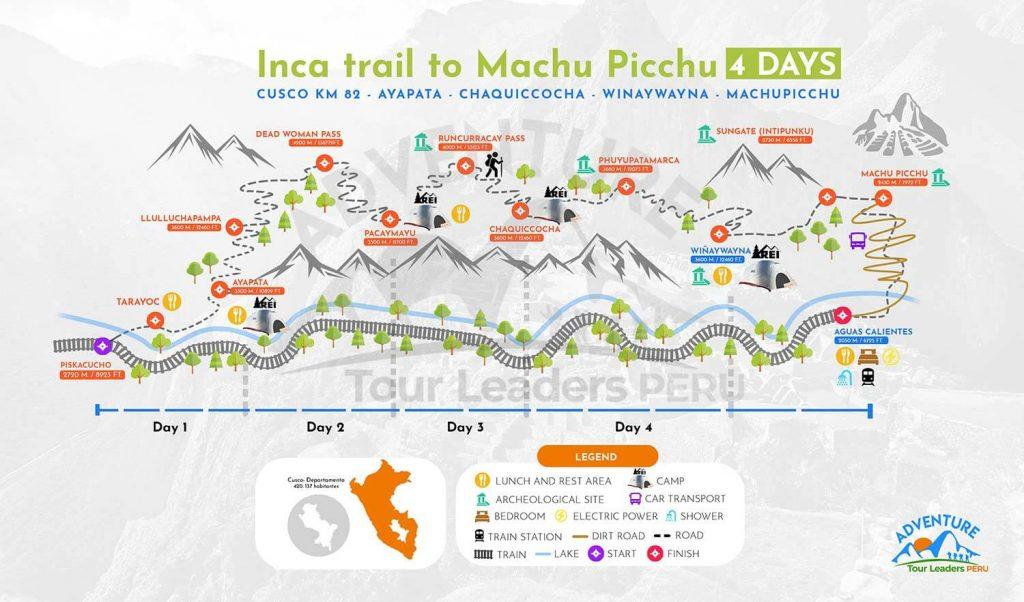 Inca Trail Map to Machu Pichcu