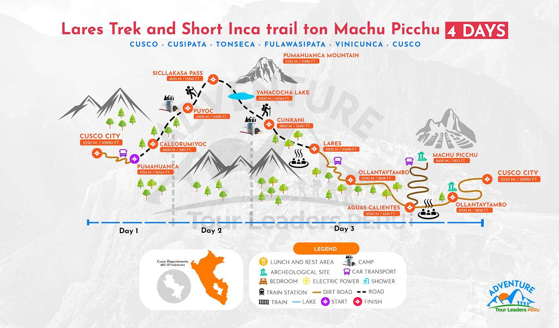 Lares Trek To Machu Picchu Map 4 Days