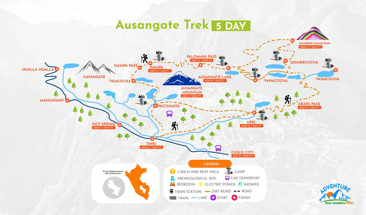Ausangate Map for Rainbow Mountain Trek